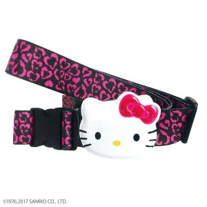 Hello Kitty ハローキティ スーツケースベルト ワンタッチベルト ハートヒョウ ブラック