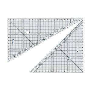 (まとめ) ステッドラー レイアウト用方眼三角定規 24cm 45°・60°ペア 966 24 1組 【×4セット】