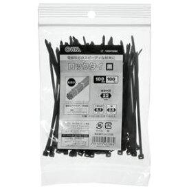 (まとめ) オーム電機 耐候性ロックタイ 100mm 黒 LT-100W100BK 1袋(100本) 【×20セット】
