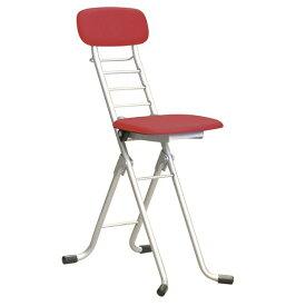 折りたたみ椅子 【4脚セット レッド×シルバー】 幅35cm 日本製 高さ6段調節 スチールパイプ 『カラーリリィチェア』【代引不可】