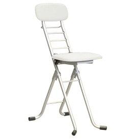 折りたたみ椅子 【4脚セット ホワイト×シルバー】 幅35cm 日本製 高さ6段調節 スチールパイプ 『カラーリリィチェア』【代引不可】