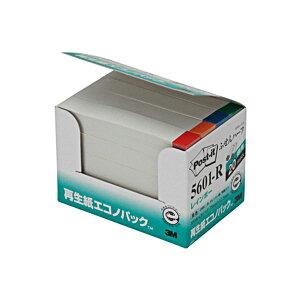 (まとめ) 3M ポスト・イット エコノパックふせんハーフ 再生紙 75×12.5mm ホワイト(4色帯入) 5601-R 1パック(20冊) 【×10セット】