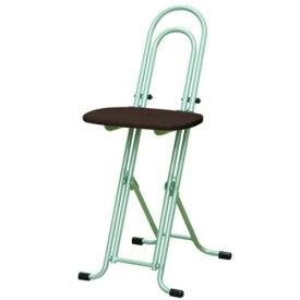 シンプル 折りたたみ椅子 【ダークブラウン×シルバー 幅330mm】 日本製 スチールパイプ 『ベストホビーチェア』【代引不可】