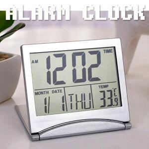 目覚まし時計 起きれる デジタル おしゃれ 大文字 めざまし時計 アラーム付き温度計 折りたたみ式 旅行 卓上 子供