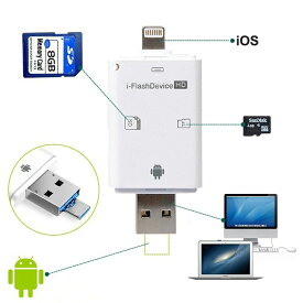 IOS11対応(ホワイト) カードリーダー iOS・Android対応 SD/TFカードリーダー iPhone/iPad/Android/コンピューター用 トレイルカメラ用SDカードリーダー