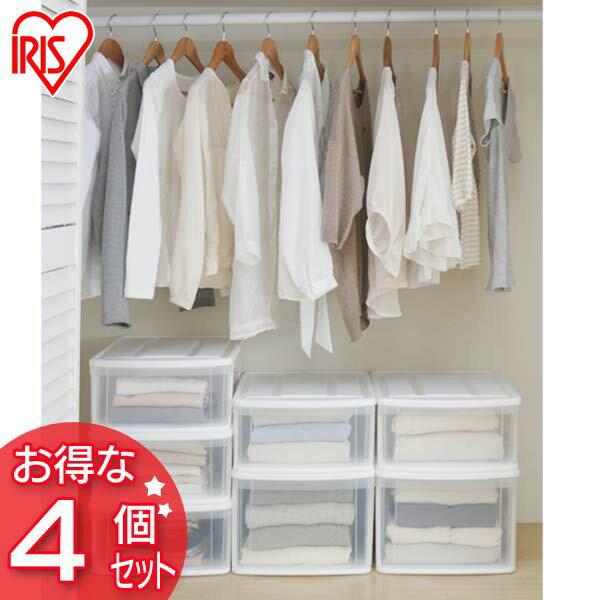 【4個セット】チェストI M ホワイト/クリア 送料無料 収納 クローゼット 押入れ 衣類収納 収納ボックス 透明 クリア アイリスオーヤマ一人暮らし