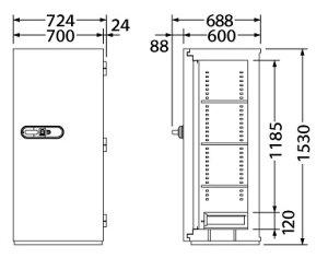【EIKO】耐火金庫NCSシリーズ(JIS認証製品)3マルチロックタイプ<開錠履歴システム搭載>NCS-40EFI幅724×奥行き688×高さ1530(mm)指紋照合タイプ、テンキータイプ、ICタグタイプの3重ロック!【2時間耐火】【耐破壊性能試験合格品】【TD】