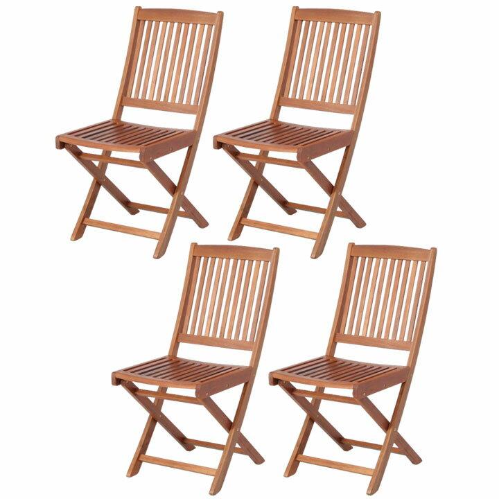 【送料無料】【ガーデンチェア ガーデンファニチャー】≪4脚セット≫フォールディングチェア #GC91JP【セット 椅子 イス 木製 アウトドア】 【D】【FB】