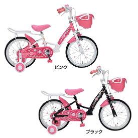 子供用自転車16インチ補助輪付き MD-12送料無料 自転車 キッズ 女の子 ピンク かわいい 可愛い ハート お花 プレゼント マイパラス ピンク ブラック【TD】 【代引不可】