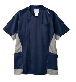 スクラブ 半袖 メンズ ブルー×グレー 医療 看護 介護 白衣 クリニック 病院 メディカル 住商モンブラン MONBLANC CHM856-30