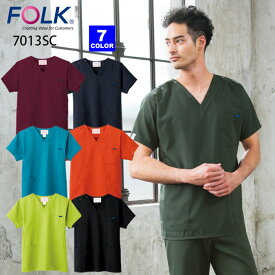 【FOLK/フォーク】 7013SC スクラブ 国境なき医師団 白衣 医療制服 SS S M L LL 3L 4L 小さいサイズ 大きいサイズ 男女兼用