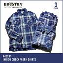 チェックシャツ 2017 S/S『HOUSTON/ヒューストン 』40261 INDIGO CHECK WORK SHIRTS / インディゴチェック ワークシ...