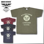 2018S/S『HOUSTON/ヒューストン』21458VINTAGEPRINTTEE(USAF)/ビンテージプリントTシャツ(USAF)-全4色-/ミリタリー/空軍/ブラック/カーキ/ネイビー/レッド/コットン/【チケット対象】[21458]