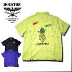 2018S/S『HOUSTON/ヒューストン』40385BOWLINGSHIRT(PINEAPPLE)/ボーリングシャツ(パイナップル)-全3色-/ボーリング/コメディ/ピン/リヨセル/刺繍/フルーツ/南国/【チケット対象】[40385]