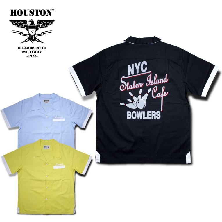 2018S/S『HOUSTON/ヒューストン』40435 COTTON BOWLING SHIRTS(NYC) /コットンボウリングシャツ(ニューヨークシティ) -全3色-/ボーリング/ピン/コットン/刺繍/フロッキング/プリント/ユニオンネットストア【チケット対象】[40435]