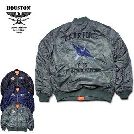2018A/W『HOUSTON/ヒューストン』50737 EMB MA-1(F-16)/刺繍MA-(F-16) -全3色-/ツイルナイロン/ワッペン/ミリタリー/MILITARY/USAF/フライトジャケット/ベルクロ/ロゴ/FIGHTING FALCON/中綿/ユニオンネットストア【チケット対象】[50737]