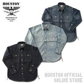 2019S/S『HOUSTON/ヒューストン』40511 USA COTTON DENIM WORK SHIRT/USAコットンデニムワークシャツ -全3色-/ワーク/ブリーチ/ビンテージ/ワンウォッシュ/加工/ユニオンネットストア[40511]