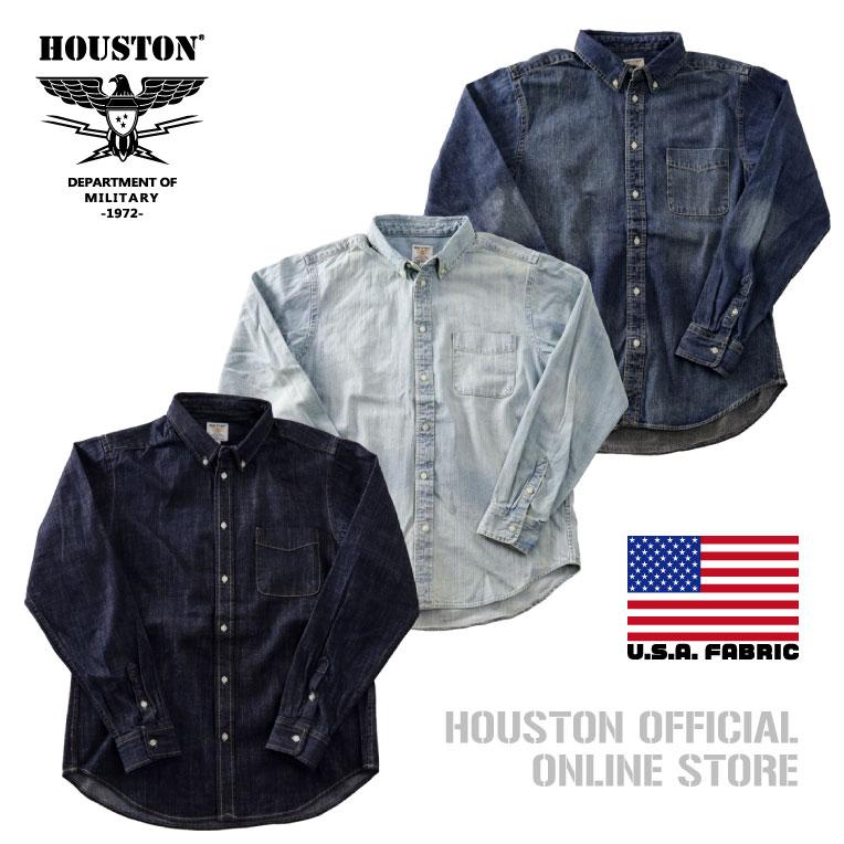 2019S/S『HOUSTON/ヒューストン』40512 USA COTTON DENIM B/D SHIRT/USAコットンデニムボタンダウンワークシャツ -全3色-/ワーク/ブリーチ/ビンテージ/ワンウォッシュ/加工/ユニオンネットストア[40512]