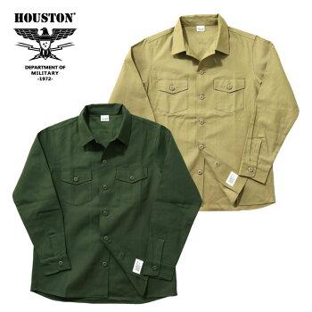 『HOUSTON/ヒューストン』40545ARMYSHIRT/アーミーシャツ-全2色-/ミリタリー/バックサテン/コットン/ユニオンネットストア[40545]