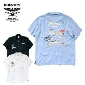 2019S/S『HOUSTON/ヒューストン』40600 EMB SOUVENIR SHIRT (HAWAII)/ 刺繍スーベニアシャツ (ハワイ) -全3色-/スカシャツ/半袖/スーベニア/アメカジ/ビンテージ/ヴィンテージ/ヤシの木/ワイキキ/ユニオンネットストア[40600]