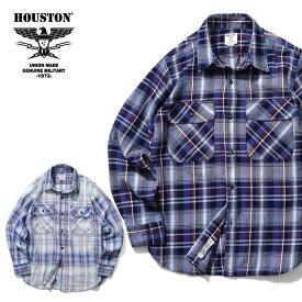 2019A/W『HOUSTON/ヒューストン』40646 INDIGO CHECK SHIRT / インディゴチェックシャツ -全2色-/ワーク/ヴィンテージ/ブリーチ/染め/ユニオンネットストア[40646]