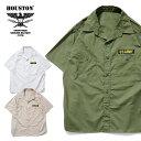 『HOUSTON/ヒューストン』40657 ARMY POPLIN S/S SHIRT / アーミーポプリン半袖シャツ -全3色-/パッチ/ミリタリー/MILITARY/ポケット/…