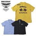 2019S/S『HOUSTON/ヒューストン』40523 STRIPE BOWLING SHIRT (FLAG) /ストライプ ボウリングシャツ フラッグ -全3色-/旗/コットン/…
