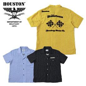 2019S/S『HOUSTON/ヒューストン』40523 STRIPE BOWLING SHIRT (FLAG) /ストライプ ボウリングシャツ フラッグ -全3色-/旗/コットン/アメカジ/ヴィンテージ/ビンテージ/ユニオンネットストア【チケット対象】[40523]