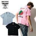 2019S/S『HOUSTON/ヒューストン』40518 BOWLING SHIRT (WATER MELON)/ ボウリングシャツ (ウォーターメロン) -全3色-/ボウリング/半袖/…