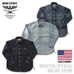 2019S/S『HOUSTON/ヒューストン』40511USACOTTONDENIMWORKSHIRT/USAコットンデニムワークシャツ-全3色-/ワーク/ブリーチ/ビンテージ/ワンウォッシュ/加工/ユニオンネットストア[40511]