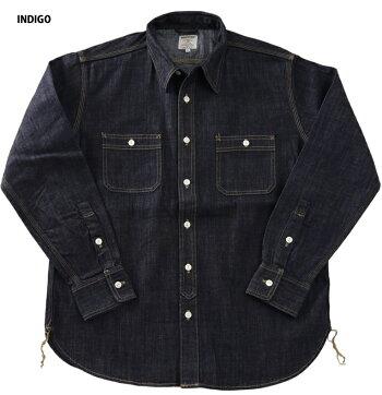 『HOUSTON/ヒューストン』40511USACOTTONDENIMWORKSHIRT/USAコットンデニムワークシャツ-全3色-/ワーク/ブリーチ/ビンテージ/ワンウォッシュ/加工/ユニオンネットストア[40511]