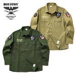 2019S/S『HOUSTON/ヒューストン』40580PATCHARMYSHIRT(F.T.)/パッチアーミーシャツ(フライングタイガー)-全2色-/ワッペン/刺繍/虎/ミリタリー/USAF/FLYINGTIGER/バックサテン/コットン/ユニオンネットストア[40580]