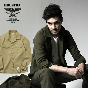2019A/W『HOUSTON/ヒューストン』40545UDVINTAGEARMYSHIRT/ビンテージアーミーシャツ-全2色-/ミリタリー/バックサテン/コットン//ヴィンテージ/ストーンウォッシュ/ユニオンネットストア[40545UD]