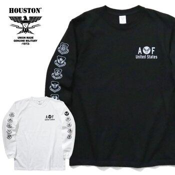 2020S/S『HOUSTON/ヒューストン』21769PRINTL/STEE(USAF)/プリントロングスリーブTシャツ(USAF)-全2色-/コットン/ミリタリー/空軍/ミリタリー/部隊/長袖/アメカジ/ユニオンネットストア[21769]
