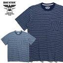 HOUSTON / ヒューストン 21786 INDIGO BORDER JACQUARD TEE/ インディゴボーダー ジャガード Tシャツ -全2色- / ポケット /ビンテージ …