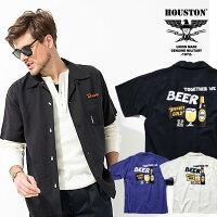 2020S/S『HOUSTON/ヒューストン』40660BOWLINGSHIRT(BEER2)/ボウリングシャツ(ビール2)-全3色-/ボーリング/ビール/刺繍/アメカジ/ユニオンネットストア[40660]