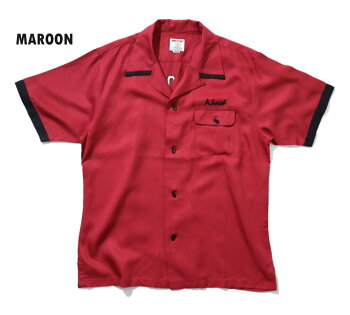 2020S/S『HOUSTON/ヒューストン』40664BOWLINGSHIRT(HOTROD)/ボウリングシャツ(ホットロッド)-全3色-/ボーリング/刺繍/アメカジ/ユニオンネットストア[40664]