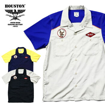 2020S/S『HOUSTON/ヒューストン』40739T/CWORKSHIRT/テトロン/コットンワークシャツ-全3色-/ビンテージ/ワッペン/2トーン/半袖/ユニオンネットストア[40739]