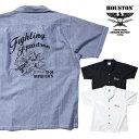 HOUSTON / ヒューストン 40752 PRINT COTTON BOWLING SHIRT(DEVIL CATS)/ プリントコットンボウリング シャツ(デビルキャット) -全3色-…