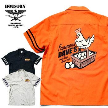 2020S/S『HOUSTON/ヒューストン』40754T/CWORKSHIRT/テトロン/コットンワークシャツ-全3色-/ビンテージ/ワッペン/プリント/鳥/半袖/ユニオンネットストア[40754]