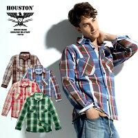 HOUSTON/ヒューストン40764CHECKVIYELLASHIRT/チェックビエラシャツ-全4色-/コットン/ワーク/ビッグサイズ/猫目ボタン/ユニオンネットストア[40764]