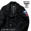 HOUSTON / ヒューストン 51090 USN PEA COAT/ USN ピーコート -全3色- /800g メルトン/ウール/腕章/中綿/コンチョボタン/ユニオンネッ…