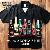 HOUSTON/ヒューストン40820WIDEALOHASHIRT(BEER)/ワイドアロハシャツ(ビール)-全2色-/レーヨン/半袖/プリント/ユニオンネットストア[40820]