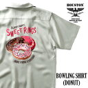 HOUSTON / ヒューストン 40828 BOWLING SHIRT(DONUT)/ボウリングシャツ(ドーナツ)-全3色- / テンセル/半袖/刺繍/切り替え/ピンボタン/…