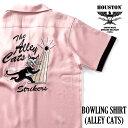 HOUSTON / ヒューストン 40829 BOWLING SHIRT(ALLEY CATS)/ボウリングシャツ(アーリーキャッツ)-全3色- / テンセル/半袖/刺繍/切り替え…