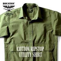 HOUSTON/ヒューストン40856COTTONRIPSTOPUTILITYSHIRT/コットンリップストップユーティリティシャツ-全3色-/ポケット/半袖/スナップボタン/ワイドシャツ/MILITARY/ミリタリー/ユニオンネットストア[40856]