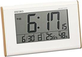 セイコー クロック 目覚まし時計 電波 デジタル カレンダー 温度 湿度 表示 薄茶 木目 模様 SQ771B SEIKO[un]