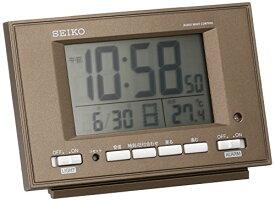 セイコー クロック 目覚まし時計 自動点灯 電波 デジタル カレンダー 温度 表示 夜でも見える 茶 メタリック SQ778B SEIKO[un]