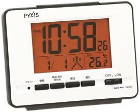 セイコー クロック 目覚まし時計 電波 デジタル カレンダー 温度 表示 PYXIS ピクシス 白 パール NR536W SEIKO[un]