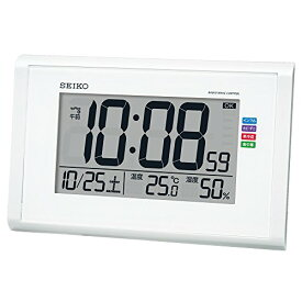 セイコー クロック 掛け時計 置き時計 兼用 快適環境NAVI 電波 デジタル カレンダー 温度 湿度 表示 大画面 白 パール SQ439W SEIKO[un]